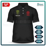 Dry Fit Polo T Shirt Sulam Yamaha Monster MotoGP Motorcycle Motosikal Y125Z LC135 Y15 RXZ TZM SRL Superbike Racing Team