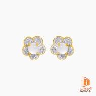 AURORA ต่างหูมูนสโตนดอกไม้ ทอง 75% น้ำหนักทอง 1.3 กรัม