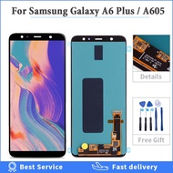 Super AMOLED For Samsung Galaxy A6 Plus 2018 LCD Touch Screen Digitizer Assembly For Samsung A6 Plus LCD A605 A6plus lcd