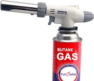 Butane Torch Gun Butane Torch Kitchen Blow Lighter - Culinary Torches Chef Cooking Professional Adjustable Flame with Reverse Use for Creme, Brulee, BBQ, Baking, Jewelry (Butane Fuel Not Included)