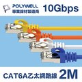 POLYWELL CAT6A 高速乙太網路線 S/FTP 10Gbps 2M