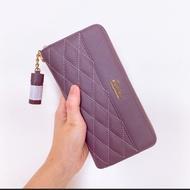 全新韓國JCRISC藕紫小香風真皮拉鍊式皮夾