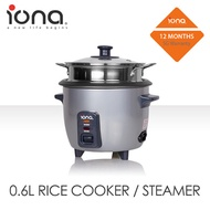 IONA GLRC061 0.6L Rice Cooker with Stainless Steel Steamer