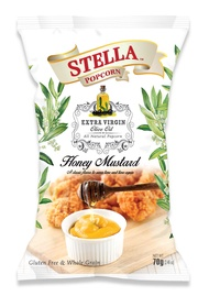 Stella Popcorn Honey Mustard (70G) Wholesome healthy snack for the family. cooked in only Extra virgin olive oil for the perfect fluffy low calorie snack. Best party munchies for young and old. excellent for Netflix TV snacking!
