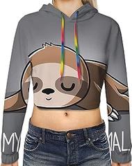 My Sprirt Animal Print Hoodies,Women'S Casual Long Sleeve Pullover Crop Tops Sweatshirt