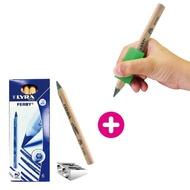 【美國The pencil grip】大三角握筆器/德國LYRA三角原木鉛筆組合包(握筆器無塑化劑好安心)