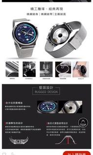 入門智慧錶/iplug smartwatch sw1 #銀色智慧手錶/中性/不鏽鋼錶帶/多項感測/同步手機/IOS/Android/