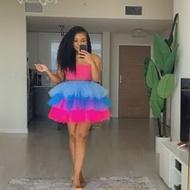 Multi Colors Puffy Skirt Tulle saias 2021 Fluffy Skirts Women Elastic Band Short Skirt Party jupe femme