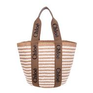 Chloé 新款Woody BORSA CESTO GRANDE編織紋LOGO背帶手提/托特包 (棕褐色)