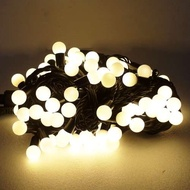 聖誕燈100燈LED圓球珍珠燈串(插電式/暖白光黑線/ 附控制器跳機)(高亮度又省電)YS-XSLED100019
