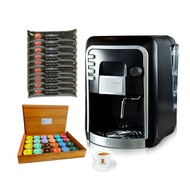 Coffee Italy เครื่องทำกาแฟ รุ่น HAUSBRANDT + แคปซูลกาแฟ 10 แพ็ค (100 แคปซูล) + แก้วกาแฟ 1 ชุด + กล่องไม้สำหรับใส่กาแฟแคปซูล 1 ใบ