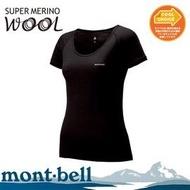 ├登山樂┤日本 mont-bell SPMW 女短袖內衣-黑 # 1107176BK