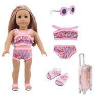 10 รูปแบบสีชุดว่ายน้ำสลิงกระเป๋าเดินทางสำหรับตุ๊กตาอเมริกัน 18 นิ้ว & 43 ซม.เด็กทารกรุ่นรัสเซีย...