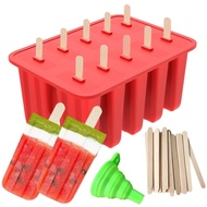 Popsicle Molds, 10 Cavities Food Grade Silicone Popsicle Molds, Homemade Popsicles Molds With 50 Popsicle Sticks