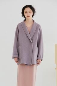Lilac Park Pantone芋紫色 複古青果領大衣 寬松羊毛毛呢料外套