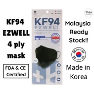 [READY STOCK] Made In Korea EZWELL 4-Ply KF94 adult face mask (Black) Individual Pack