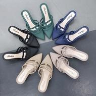 รองเท้า รองเท้าคัชชูแฟชั่น หัวแหลม ส้นสูง ลาย3สาย เปิดส้นเท้า สวมใส่สบาย ราคาถูก