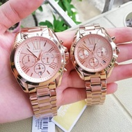 Michael Kors Rose Gold Chronograph Bradshaw Authentic and Pawnable MK watch- Mens Watch OR Womens watch for Formal or Casual