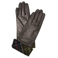 babua BARBOUR手套女士手套棕色×彩色方格圖案BARBOUR LADY JANE LEATHER GLOVE LGL0005 BR12 CHOC GREEN ChelseaGardensUK