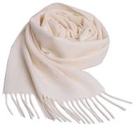 Vivienne Westwood 長版刺繡行星LOGO羊毛圍巾(米白)