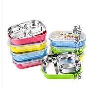 304不銹鋼分格飯盒保溫便當盒兒童卡通餐盒雙層小學生分隔餐盤CY