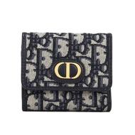 【Dior 迪奧】30 MONTAIGNE 經典老花三折式短夾(藍色)