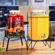 復古無鉛玻璃壺開關瓶果汁罐冷飲冷水壺大容量不耐熱水龍頭飲料桶不含架子