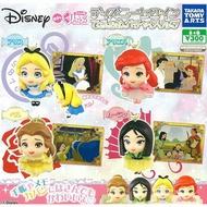 全套4款【日本正版】大頭 迪士尼公主 吊飾 扭蛋 轉蛋 貝兒公主 花木蘭 愛麗絲 小美人魚 - 865480