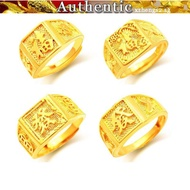 Open male ring 916 pure gold square ring