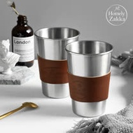 【Homely Zakka】原創ins風皮革304不銹鋼杯/飲料杯/咖啡隨行杯(480ml)_Gourmet