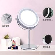 台式化妝鏡雙面帶LED燈5/7/10倍放大鏡子梳妝美容鏡mirror