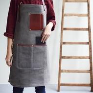 帆布皮革口袋工作圍裙-灰色 [防潑水]