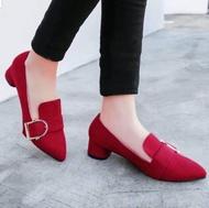 ❤ รองเท้าส้นสูงแฟชั่น คัชชูหุ้มส้น ผ้ากำมะหยี่ ❤ สไตล์เกาหลี - สีแดง-สีน้ำตาล-สีดำ No.F052