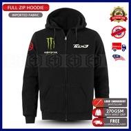 Yamaha Tech3 Monster Zip Hoodie Embroidery MotoGP Motorcycle Motosikal Superbike Racing Team Casual 125Z RXZ TZM SRL LC