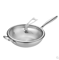 Wok 304 stainless steel wok uncoated non-stick cooker household induction cooker gas