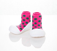 韓國 Attipas 快樂腳襪型學步鞋-圓點粉好窩生活節
