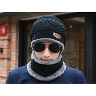 雙層加厚保暖帽子圍脖二件組【SG115】秋冬加絨套帽男士帽子圍脖兩件套箭頭皮標針織居家必備xxxXXXXxboykimo