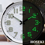 HOSEKI H-9138 Round Designer Luminous Wall Clock Decor Silent Sweep 3D Large Number Battery Operated For Living Kitchen