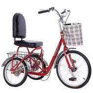 Elderly tricycle foot rickshaw in the old-age walker adult leisure light outside eight-word three-wh