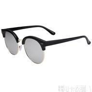 墨鏡男士新款韓國明星同款太陽鏡偏光鏡個性半框圓太陽眼鏡潮-可卡衣櫃