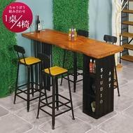【AT HOME】美式輕工業6尺貨櫃造型實木鐵藝吧台桌/餐桌/洽談桌/休閒桌/工作桌椅組(1桌4椅/比爾)