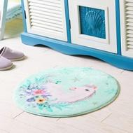 ♚MY COLOR♚圓形法蘭絨印花地墊 浴室 簡約 加厚 防滑墊 臥室 門口墊 腳墊 地毯 家用 廚房【P61】
