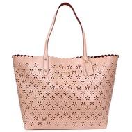 COACH 37650 粉色亮粉雕花全皮肩背購物托特包(大)