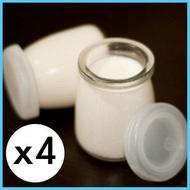 全城熱賣 - 4個150ml 啫喱杯 奶凍杯 玻璃杯 玻璃小瓶 布丁杯連蓋 Pudding Jello Jelly