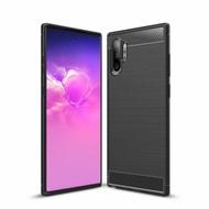 PKG 三星Note10 PLUS手機殼時尚碳纖紋路+抗指紋-黑