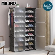【Mr.Box】18格6門1掛 防塵組合鞋櫃盒 深32cm(黑+霧款)