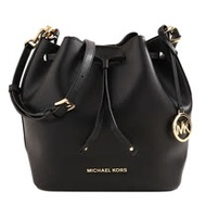 MICHAEL KORS- 金字MK大吊飾皮革手提斜背水桶包/黑