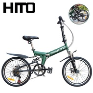 🔥In Stock🔥 Hito 20 Inch Disc Brake Foldable Bicycle Mountain Bike Shockproof Men's And Women's Folding Variable Speed Student Bike