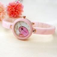 K-1182 KEZZI 珂紫 愛心寶貝面 透亮晶鑽時點  真陶瓷細版陶瓷錶-粉心粉陶