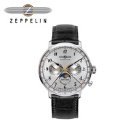 【齊柏林飛船錶Zeppelin】興登堡月相三眼白盤石英錶 40mm 男/女錶 70361